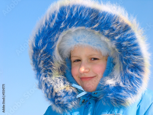 winter portrait of smiling girl