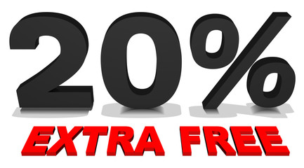 20% extra free 3d text
