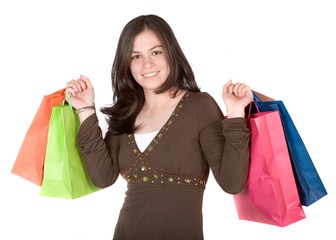 beautiful girl with shopping bags