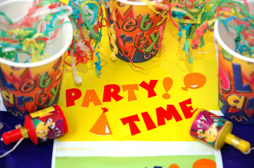 colurful party streamers,banners and paper cups