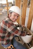 plumber repairs toilet poster