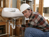 construction plumber working poster