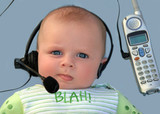 baby with a headset poster