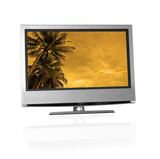 tropical landscape on flat screen tv poster