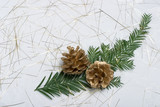 holiday card with fir branch and golden cones poster