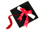 diploma resting on graduation cap poster