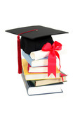 cap and diploma on stack of books poster