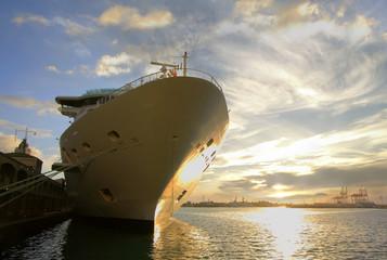 cruise ship at sundown