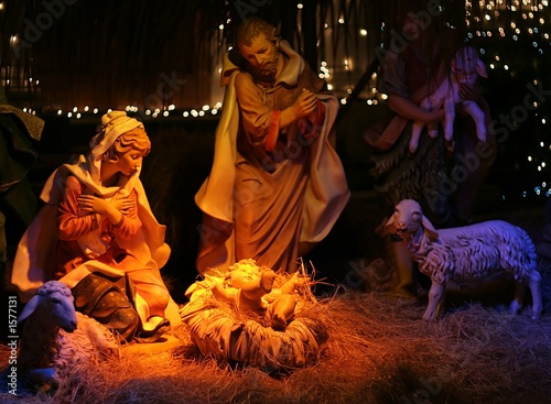 night shot of a nativity scene - 1577131