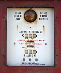antique gas pump close up