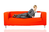 woman on red couch poster
