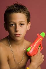 boy with squirt-gun