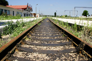 rails on abandoned station