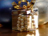 silver xmas gift box with blue and white