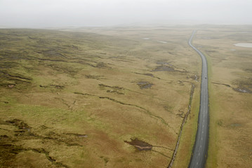 aerial view to road and landscape