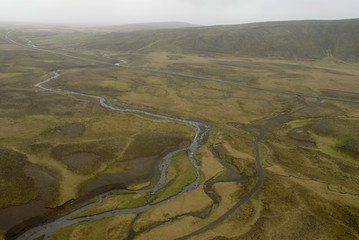 aerial view to iceland landscape