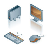 design elements 44b. computers icons set poster
