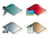 design elements 45c. folders icon set poster