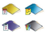 design elements 45d. folders icon set poster
