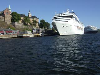 cruiser in oslo harbor