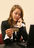 woman placing order poster