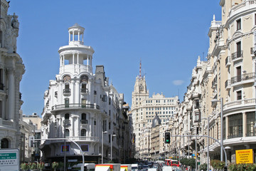 gran via street in the center of madrid.
