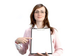 businesswoman with files poster