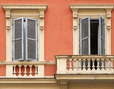 windows and balcony in rome poster