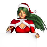 christmas girl with edge of blank sign poster
