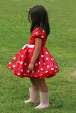 red and white polka dot dress poster