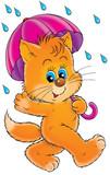 kitten with umbrella poster