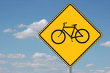 bicyles ahead warning sign poster