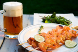 grilled shrimps and beer poster