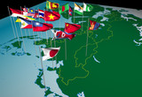 asia flags on map (northeast view)