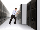 business man adding server to network poster