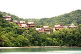 chalets in the tropical rainforest poster