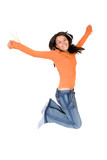 girl jumping of joy poster