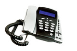 modern telephone with blue display poster