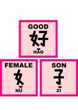 chinese words - good is equal to man plus woman (b poster
