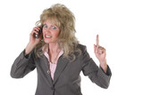 excited executive business woman on cellphone poster
