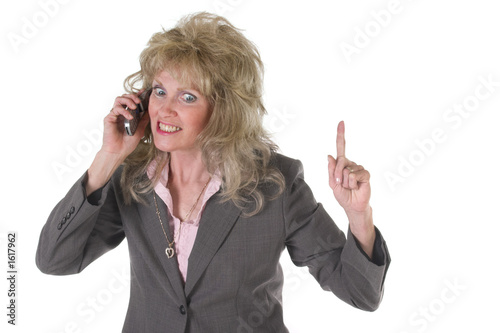 poster of excited executive business woman on cellphone