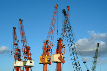 cranes in port against sky
