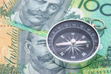 compass on australia dollar bill poster