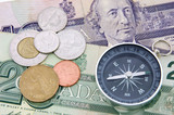compass on canadian dollar poster