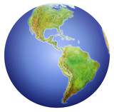 earth showing north, central, and south america. poster