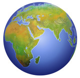 earth showing europe, asia, and africa. poster