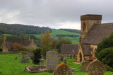 hdr image of english church and fields. poster