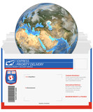 express delivery-earth eastern hemisphere poster