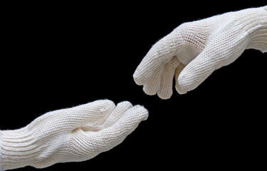 labor's hands in safety gloves conection. isolated