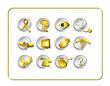 medical & pharmacy icon set - golden 2